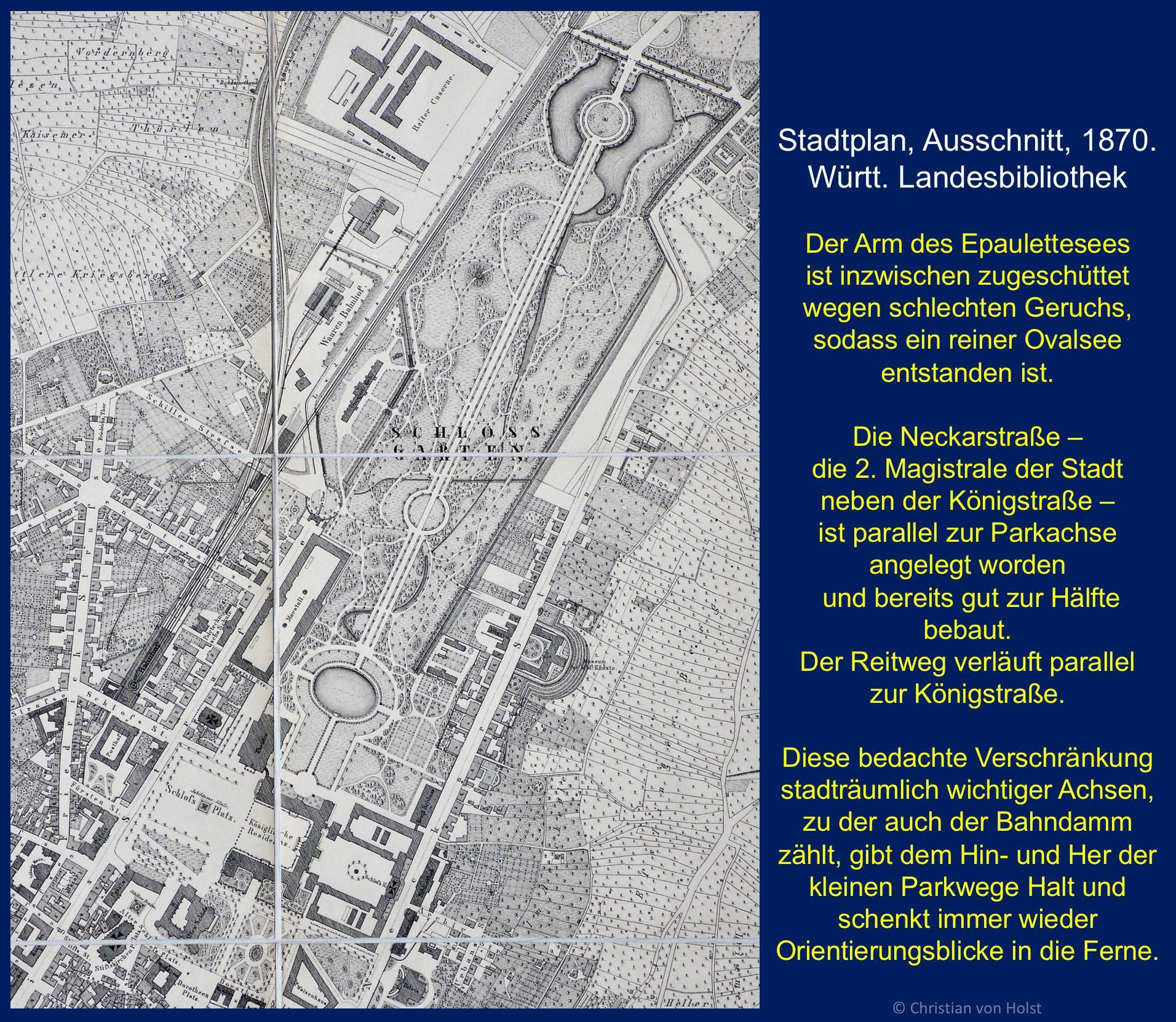 Ovalsee: Nikolaus Thouret, 1850-1941 – Stadtplan 1870 Thourets Konzept eindrucksvoll sichtbar