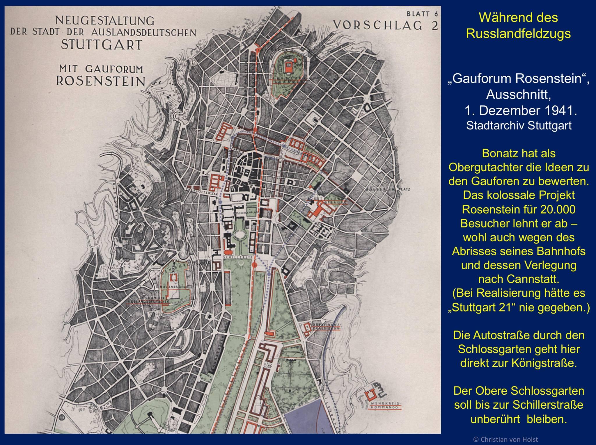 Plan für ein Gauforum im Rosensteinpark 1941 Stadtarchiv Stuttgart