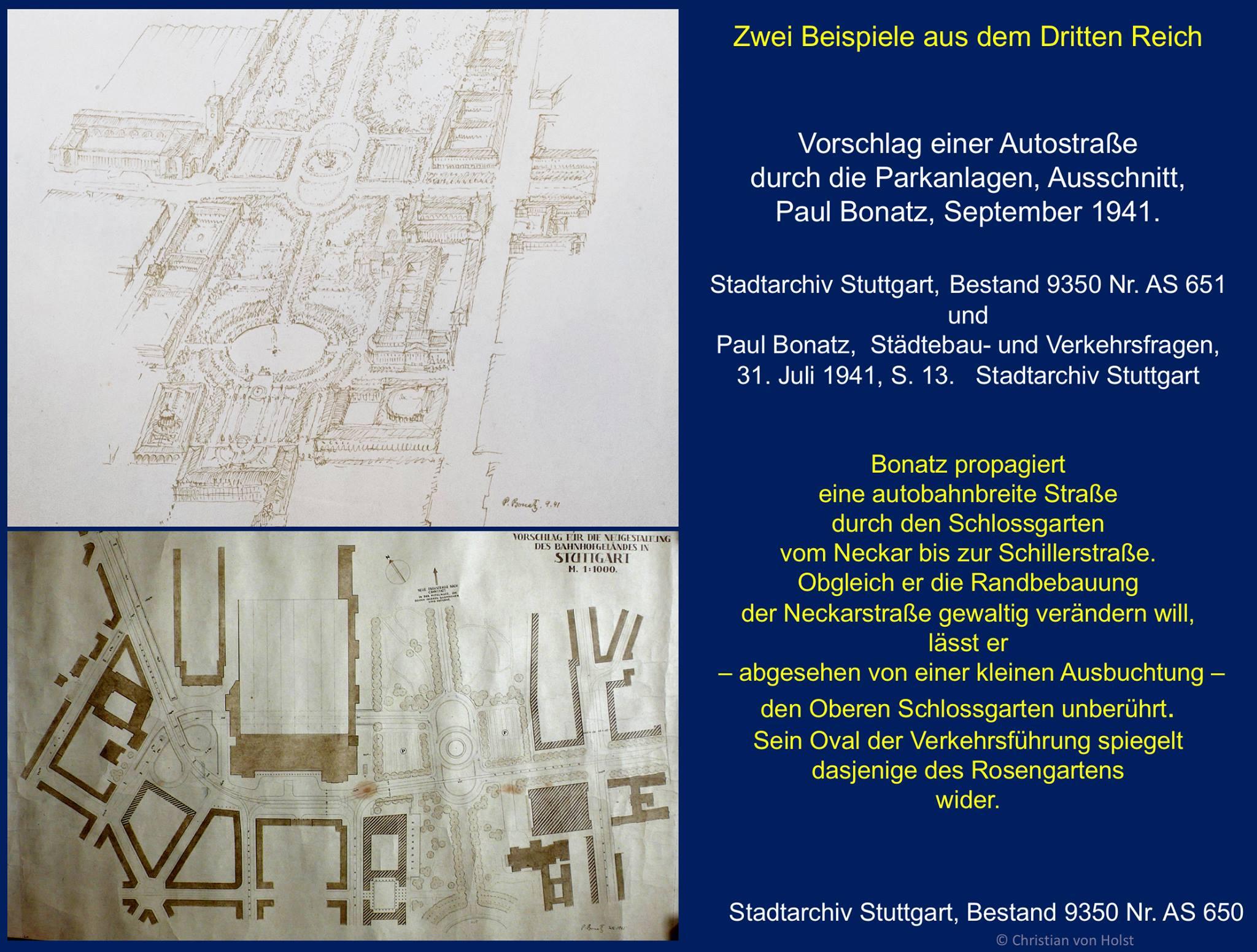 Paul Bonatz Plan einer Autostraße durch den Schlossgarten 1941 Stadtarchiv Stuttgart
