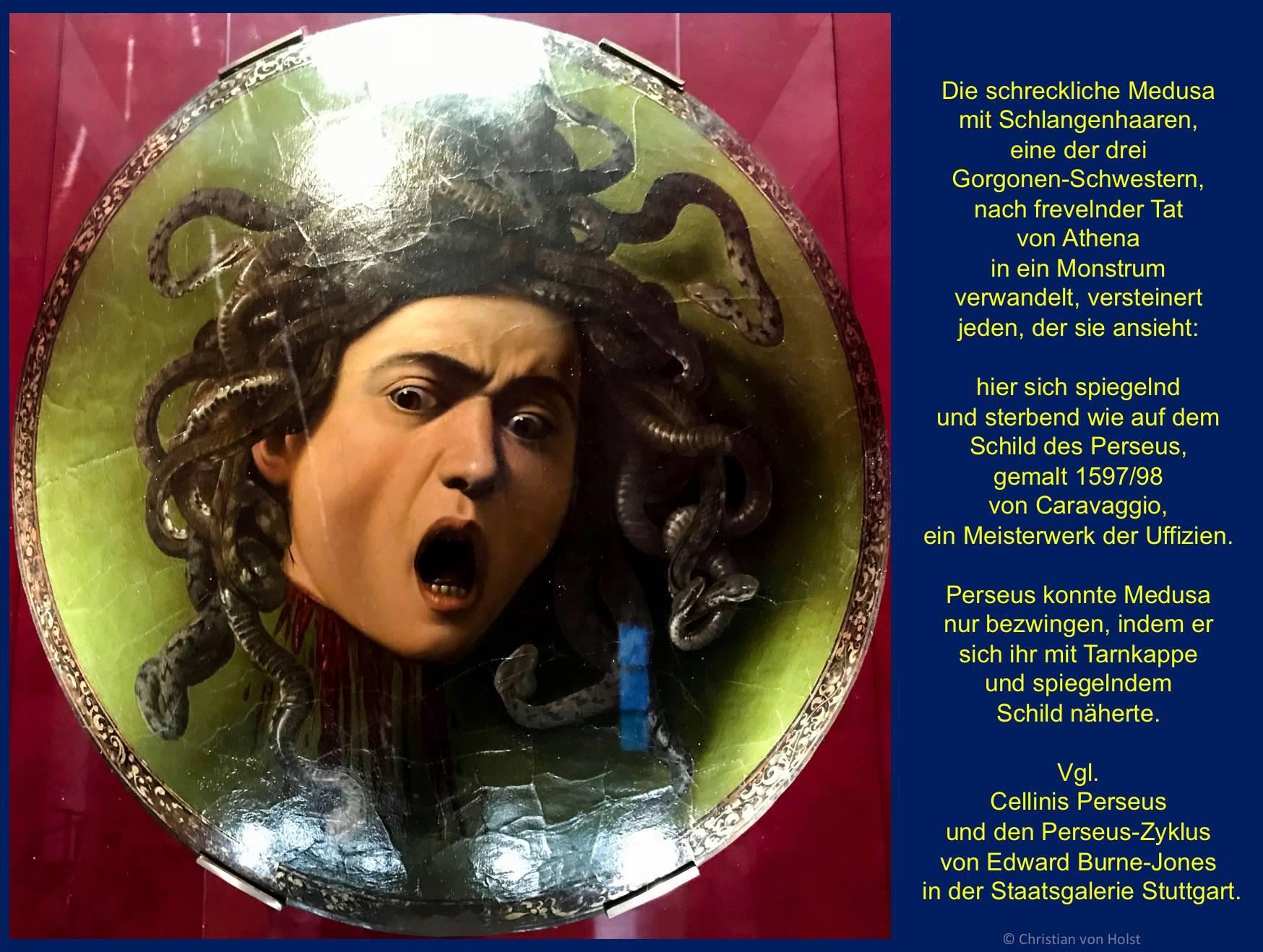 Piazza Signoria und Michelangelos David und Caravaggio Medusa der Uffizien