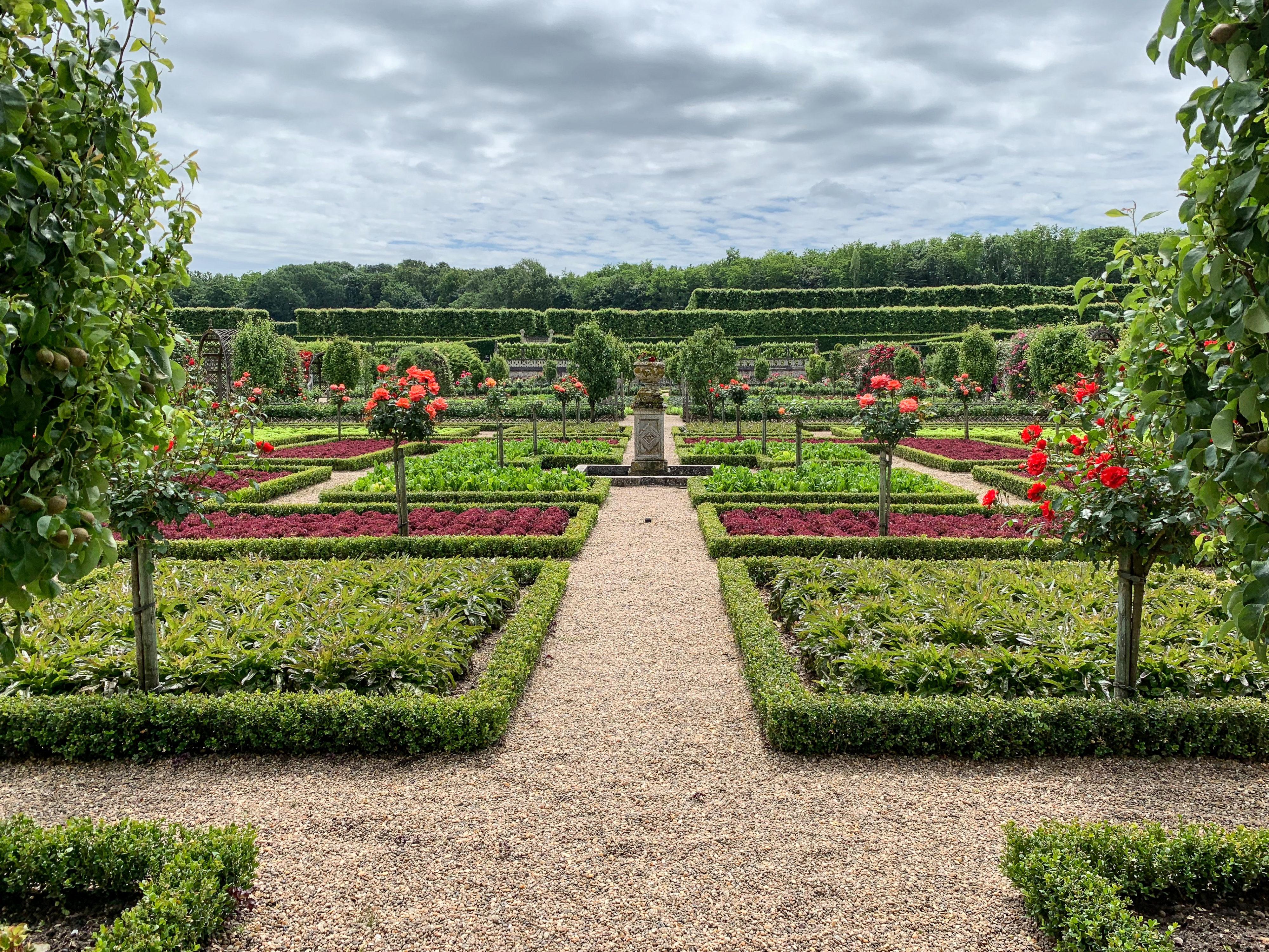 Villandry, eine Art Paradies für Gartenfreunde Gemüsegarten mit Stammrosen