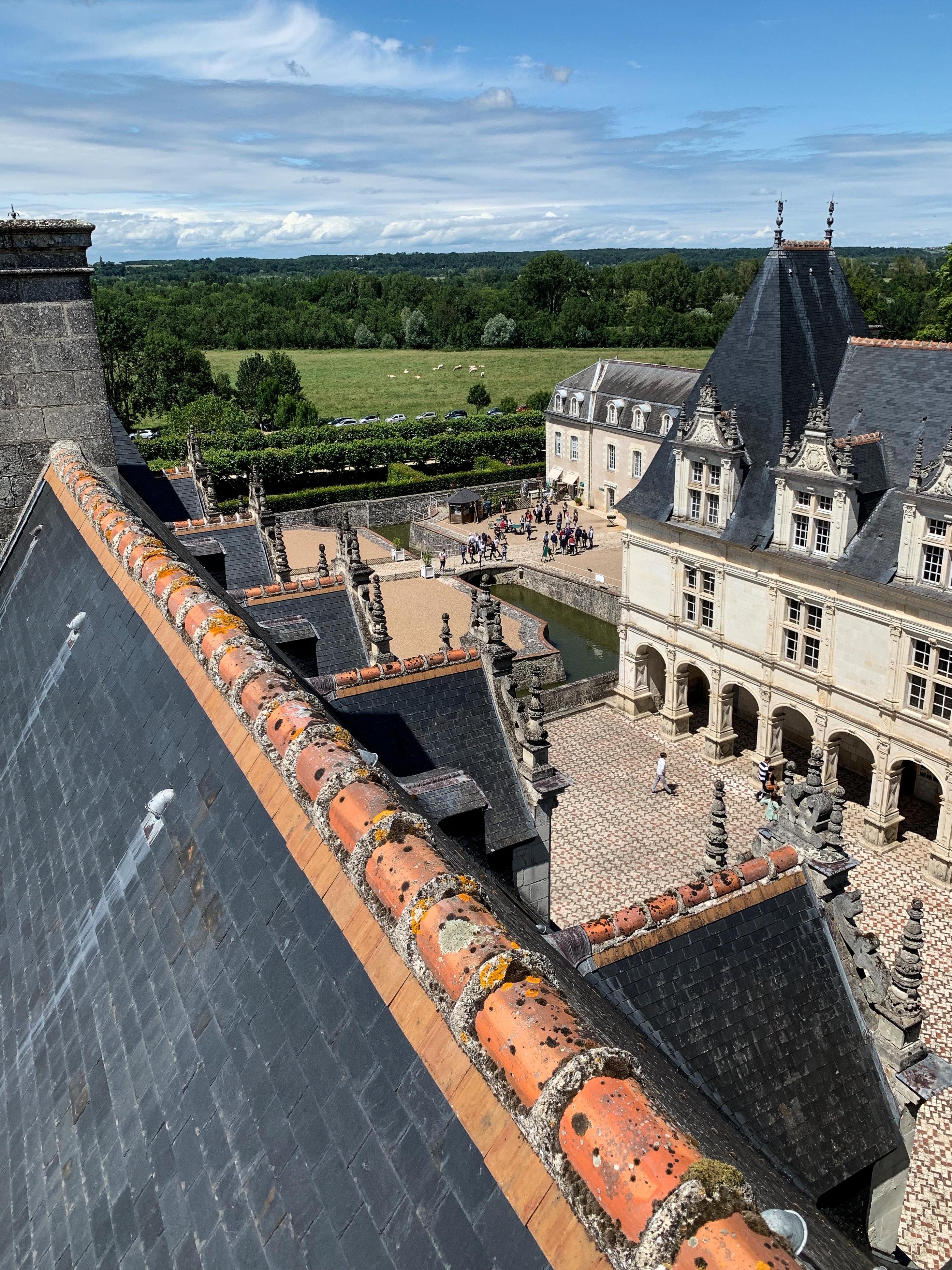 Villandry Schlosshof und Blick über die Touraine