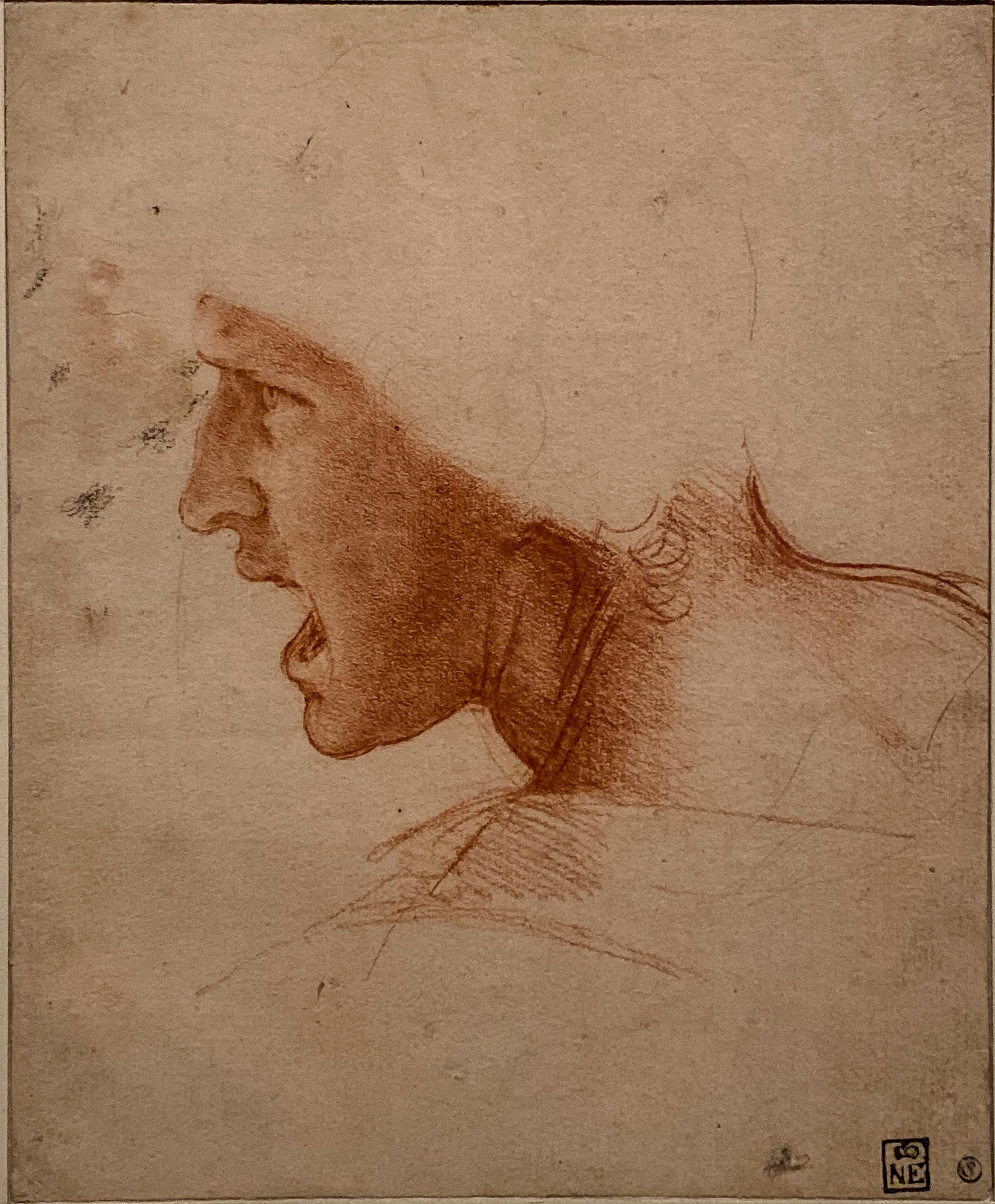 Leonardo da Vinci – Jahrhundertausstellung im Louvre Kopfstudie Anghiari Budapest