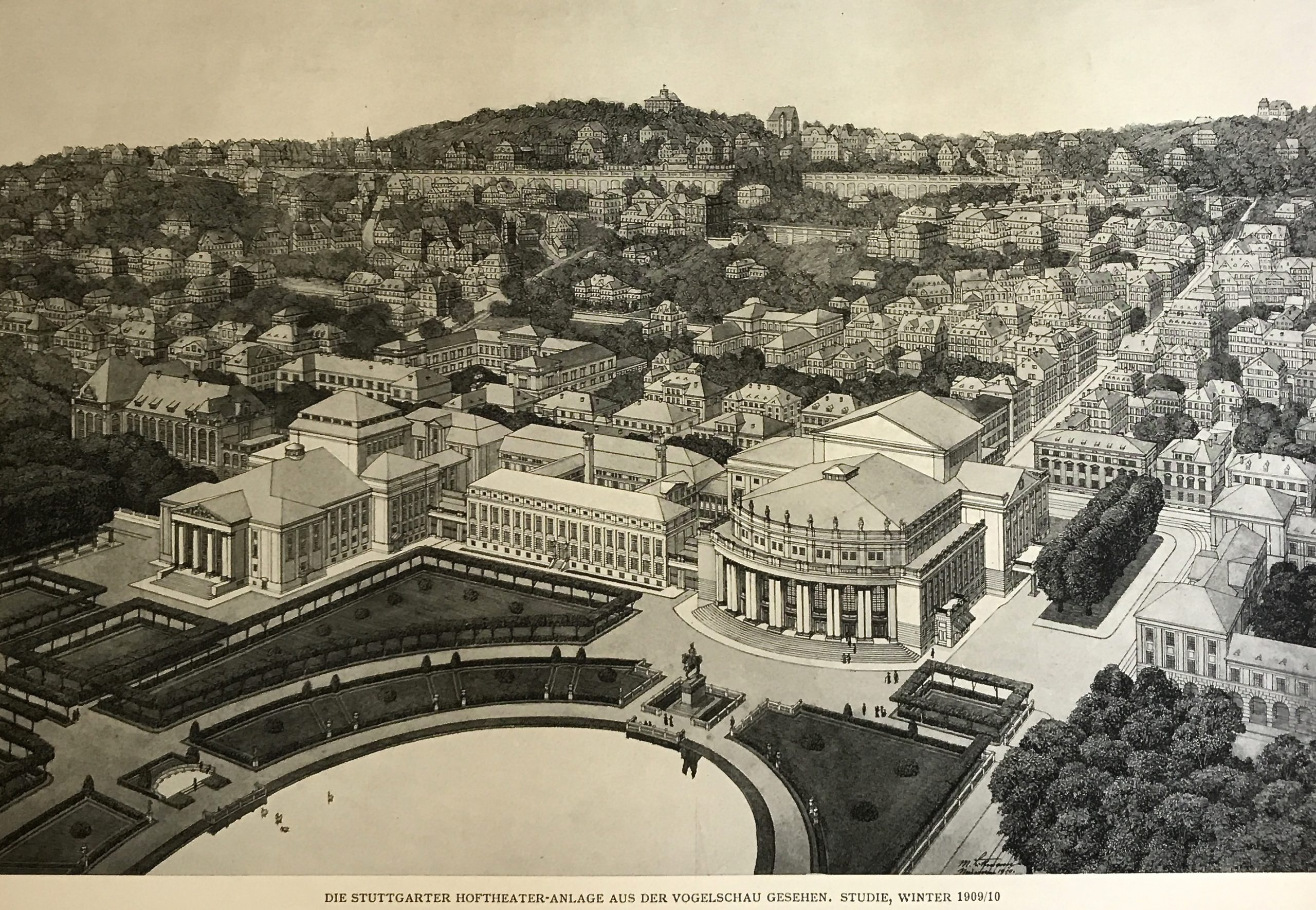 Max Liimanns Vogelschau auf das Hoftheater in Stuttgart 1909/10