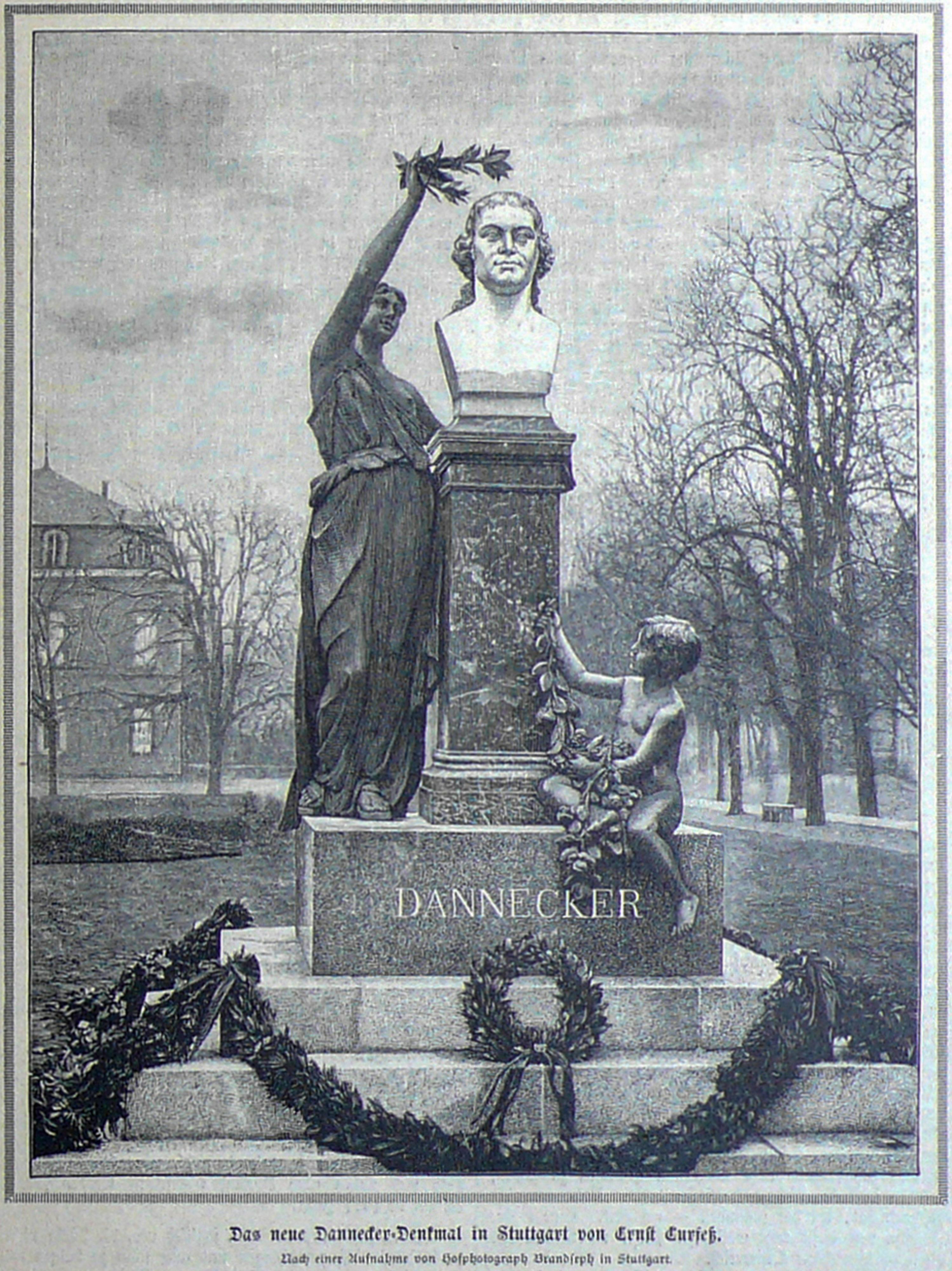 Bekanntmachung des Dannecker-Denkmals von Ernst Curfeß 1888