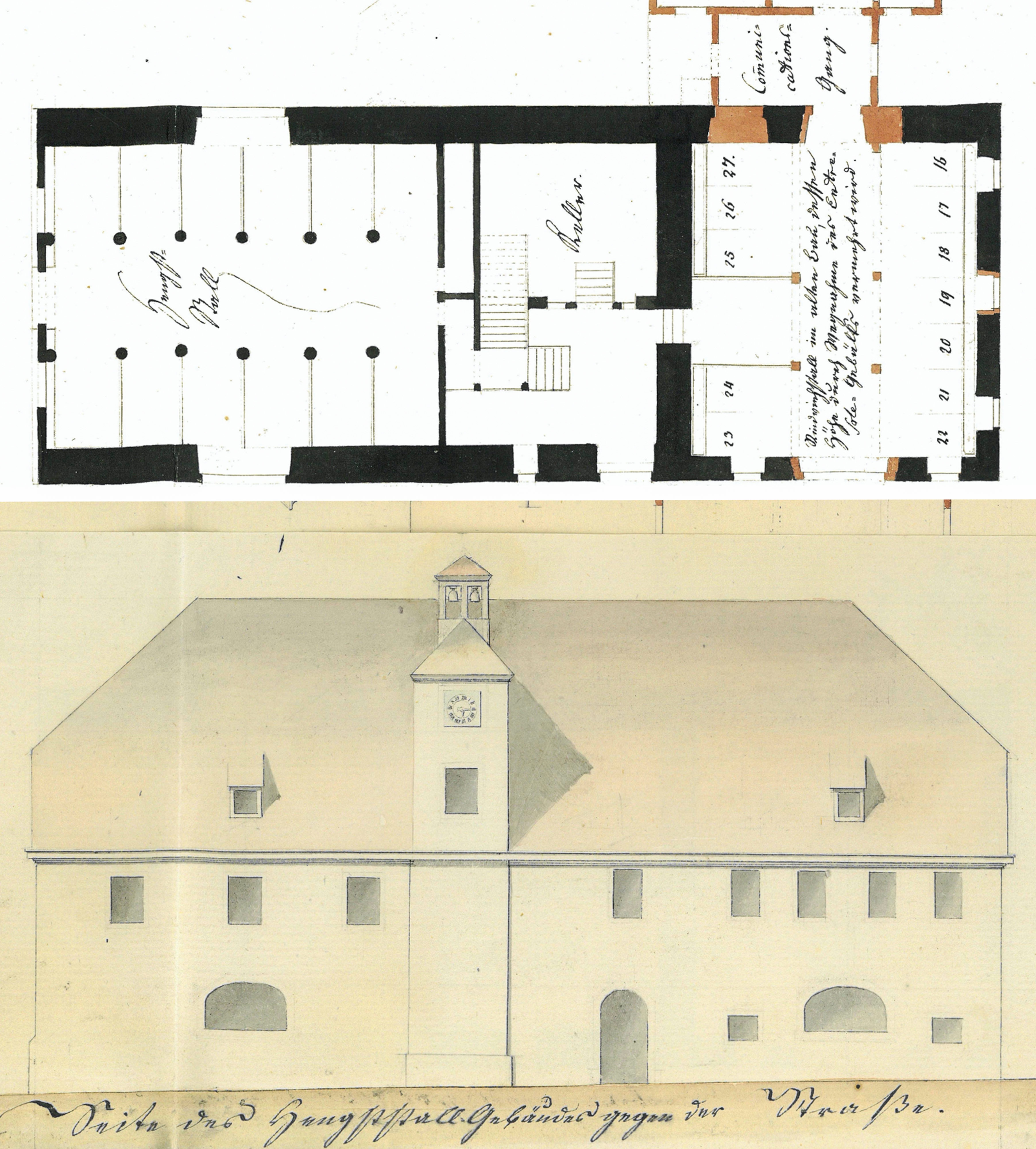 Aufriss und Grundriss Hengststall Gestüt Weil Giovanni Salucci