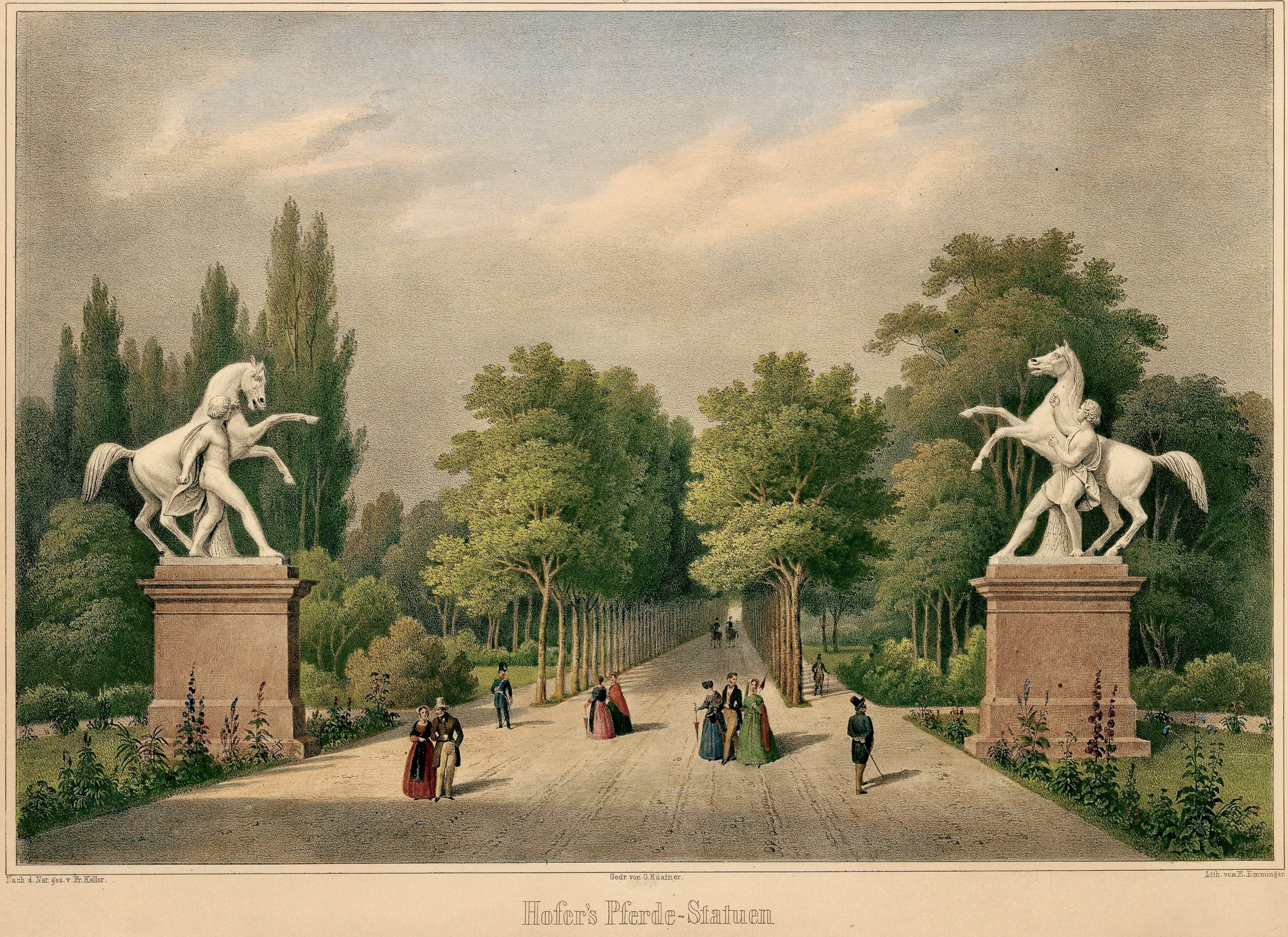 Rossebändiger am Beginne der Platanenallee – nach Friedrich Keller um 1850