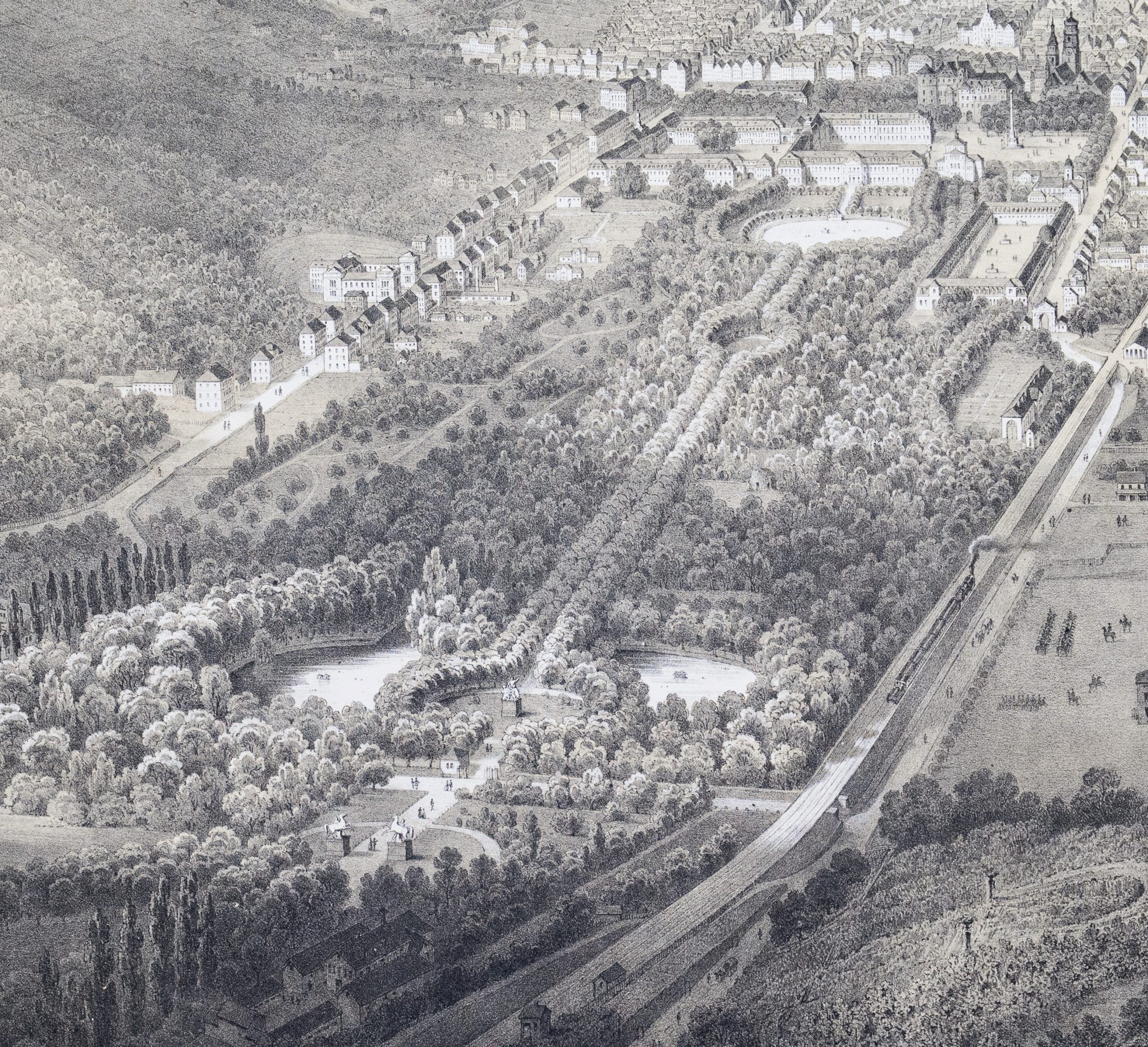 Vogelschau Schlossgarten 1852