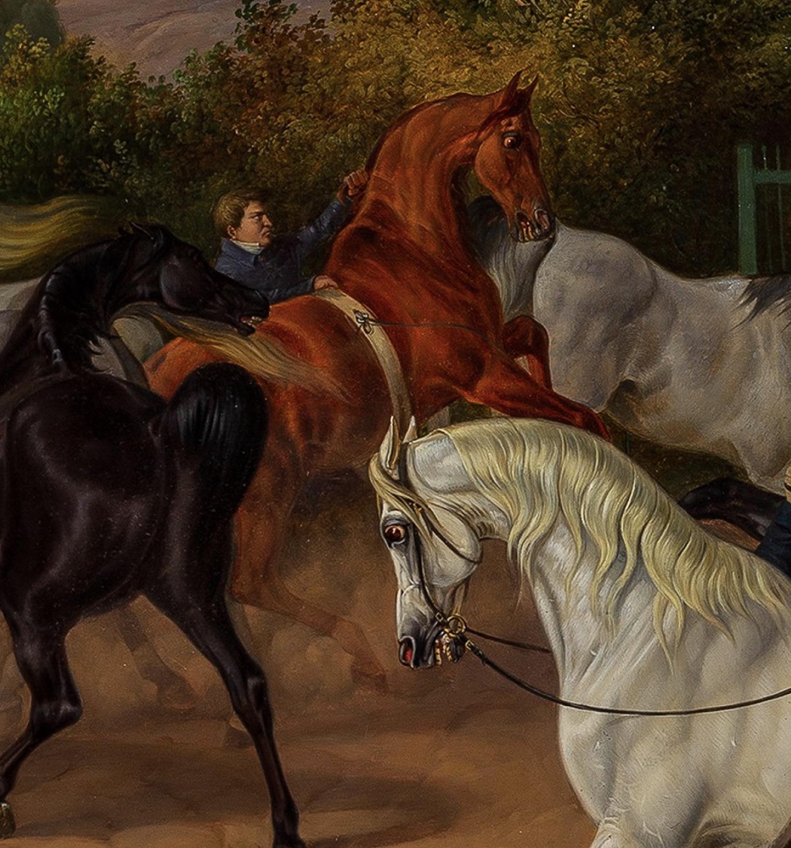 Rossebändiger — ein Denkmal des Kgl. Privatgestüts – Cham gemalt 1844 von Otto Stotz