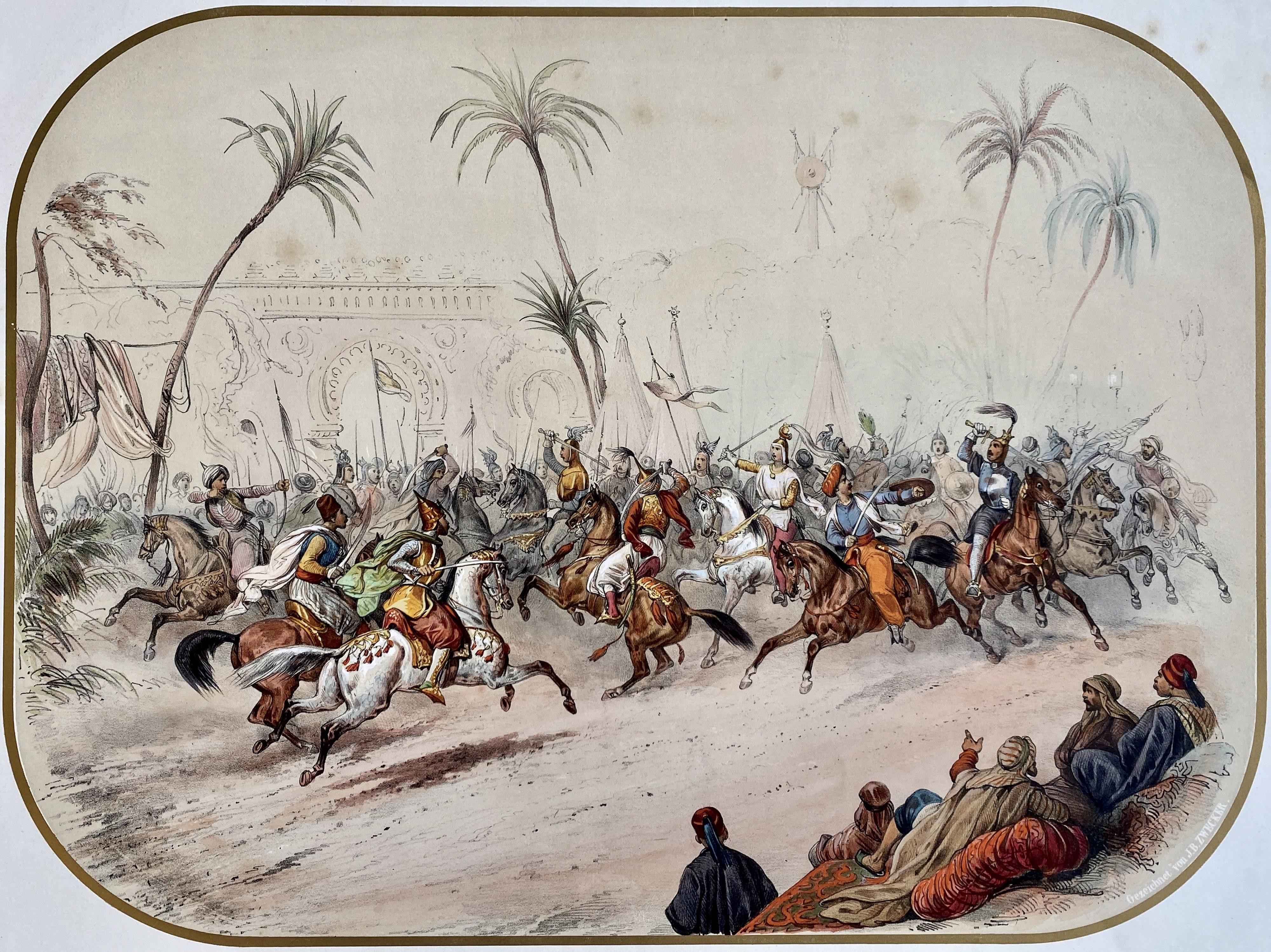 Reiterspiel/Caroussel 1846: Kampfspiele gegen Schluss – Gesamtbild