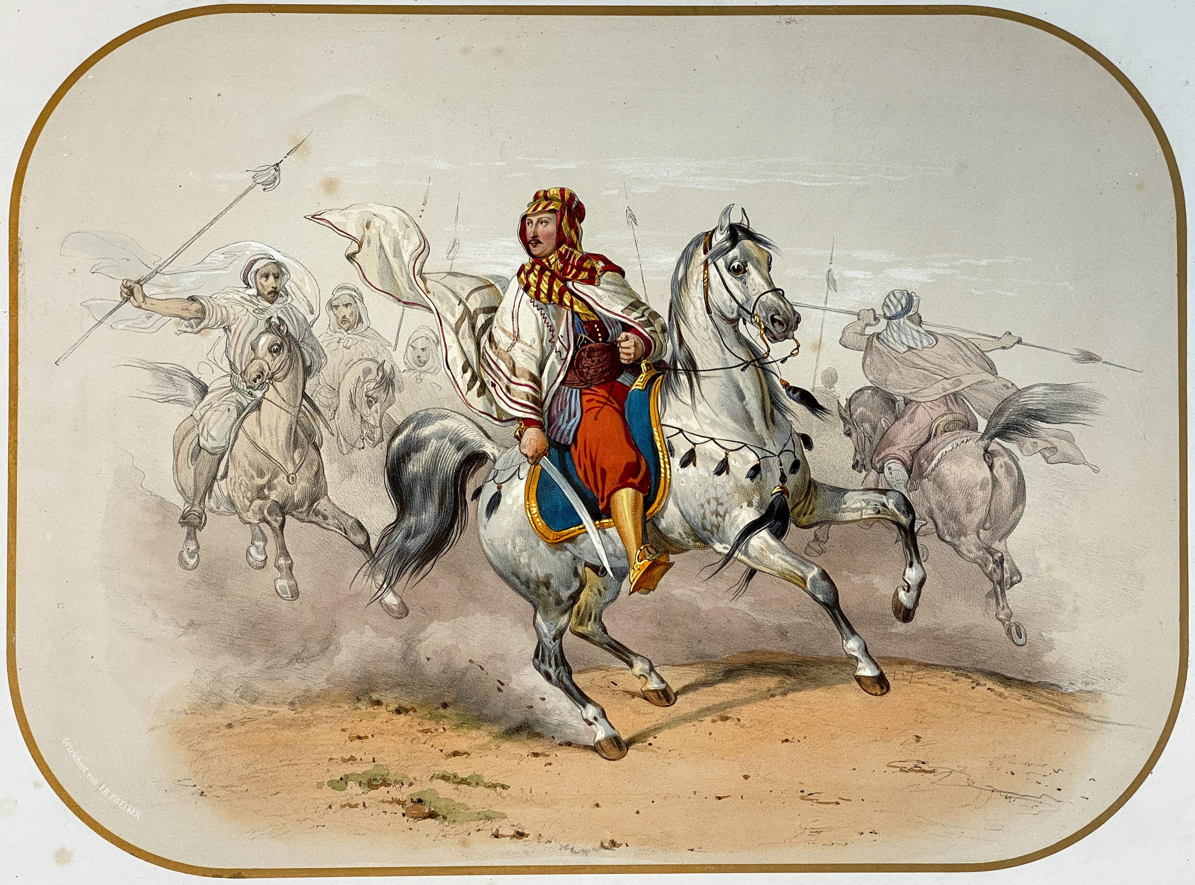 Friedrich Wilhelm Hackländer mit Beduinen als Arrieregarde