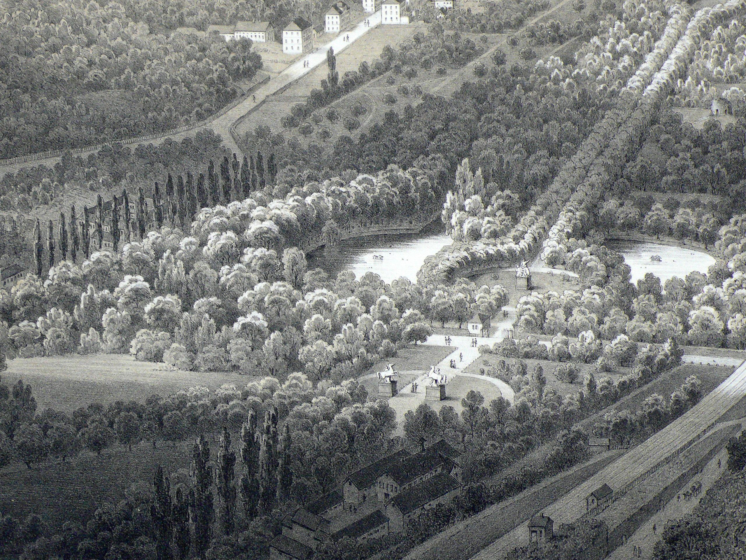 Vogelschau Schlossgarten 1852, Detail
