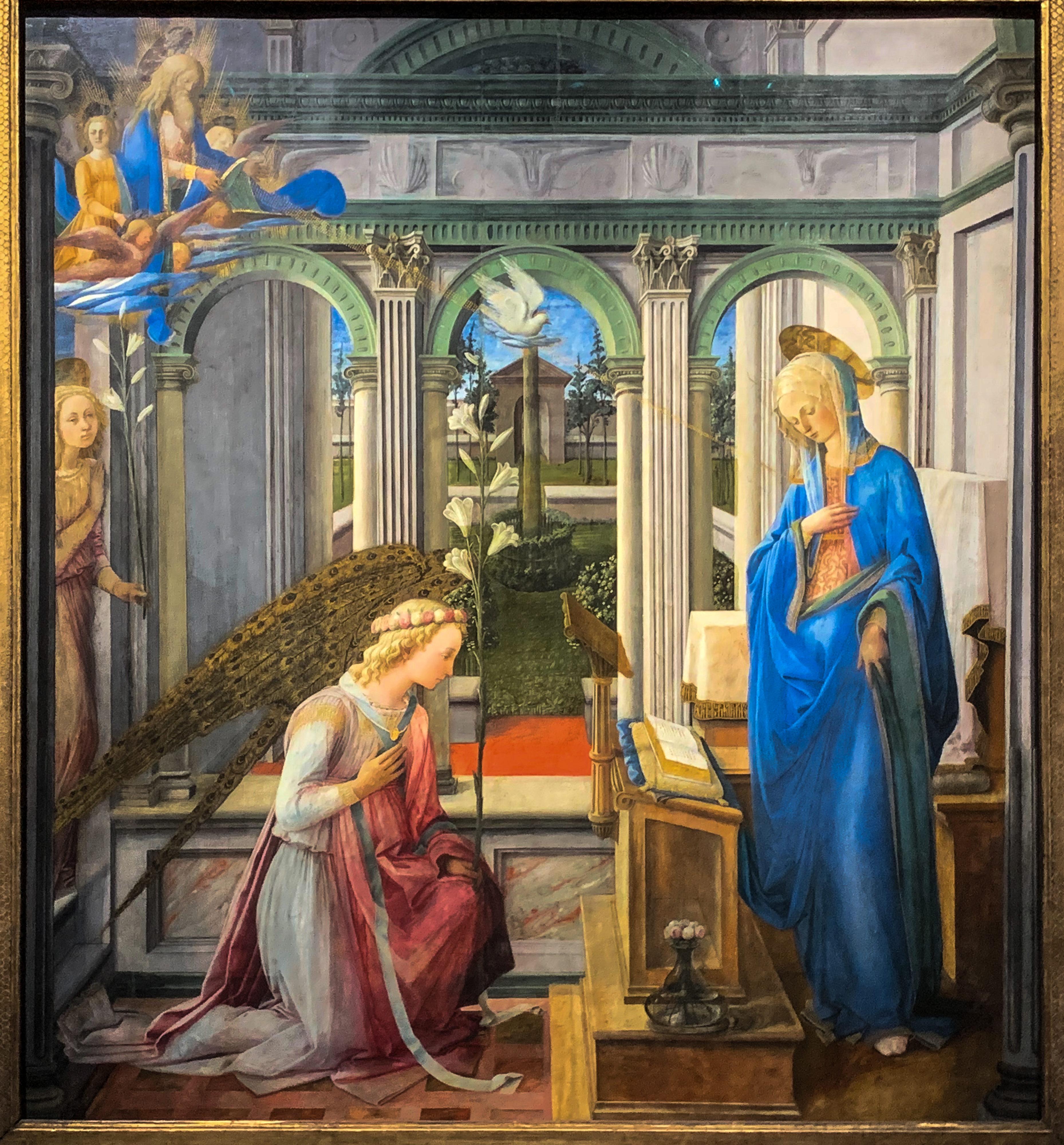 Verkündigung und die Ärzte Cosmas und Damian Filippo Lippi Alte Pinakothek