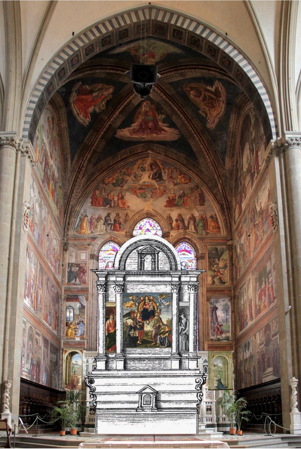 S. Maria Novella Ghirlandaios Tornabuoni-Kapelle mit Hauptaltar Rekonstruktion Chr. v. Holst