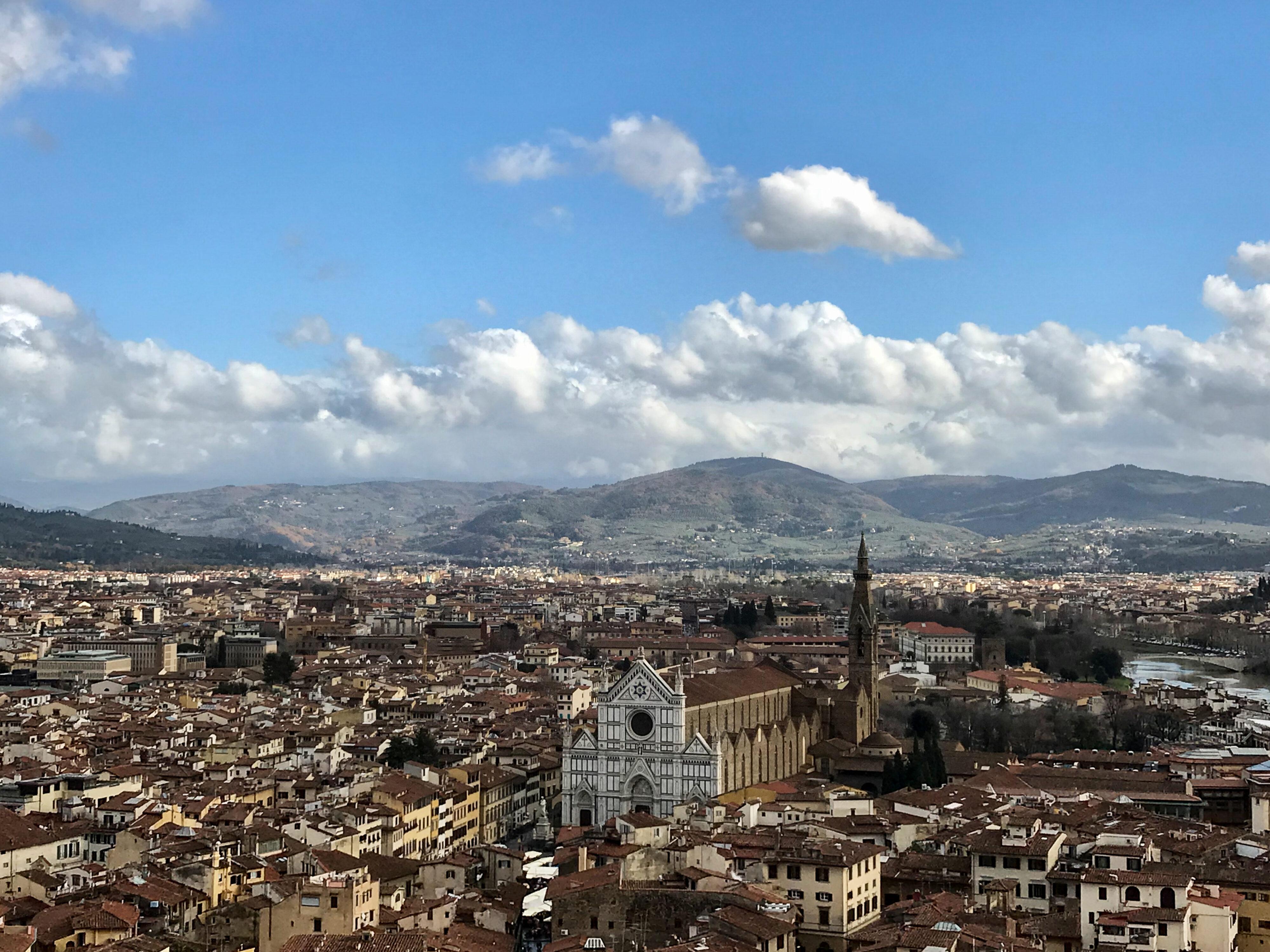Florenz – Palazzo Vecchio und sein Aussichtsturm Blick nach Osten mit Santa Croce