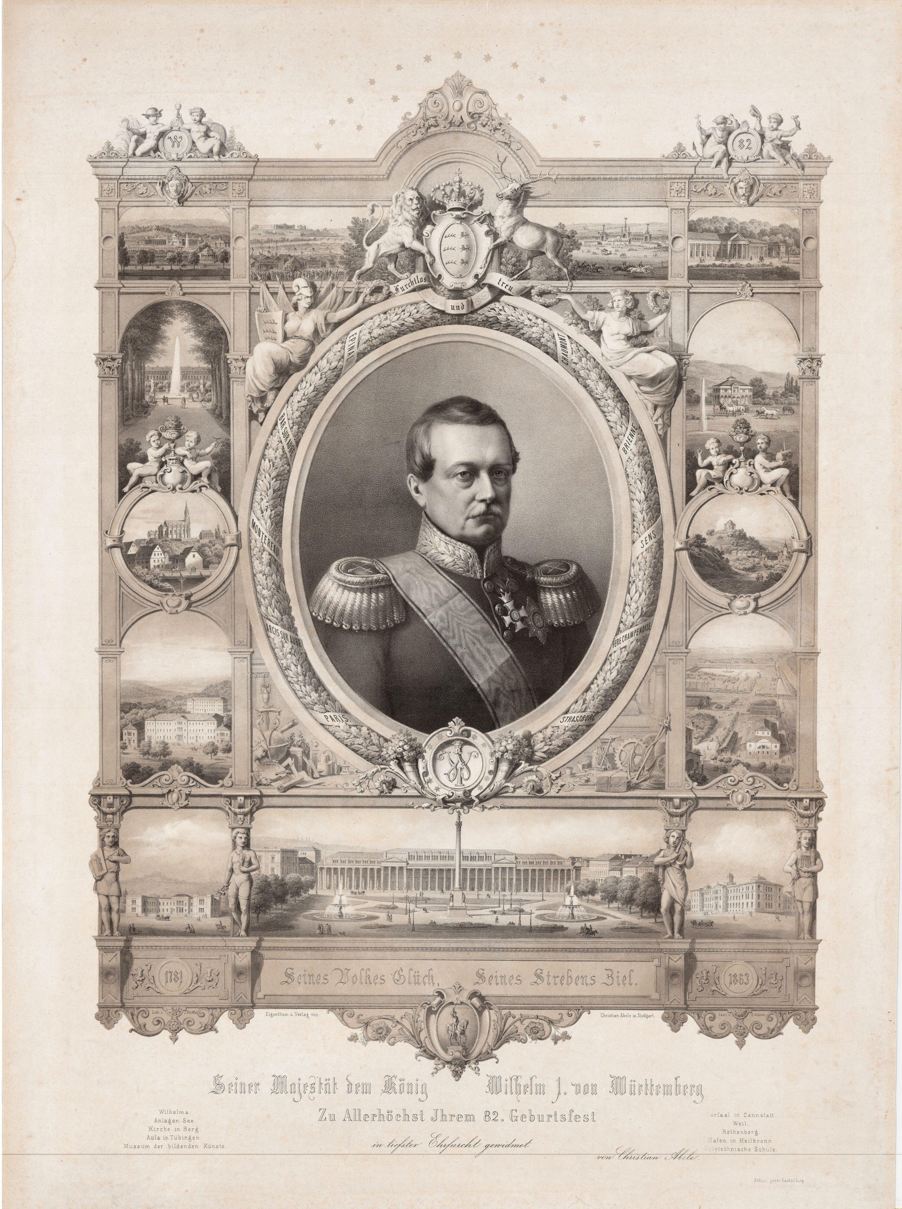 Gratulationsblatt zum 82. Geburtstag von König Wilhelm 1863