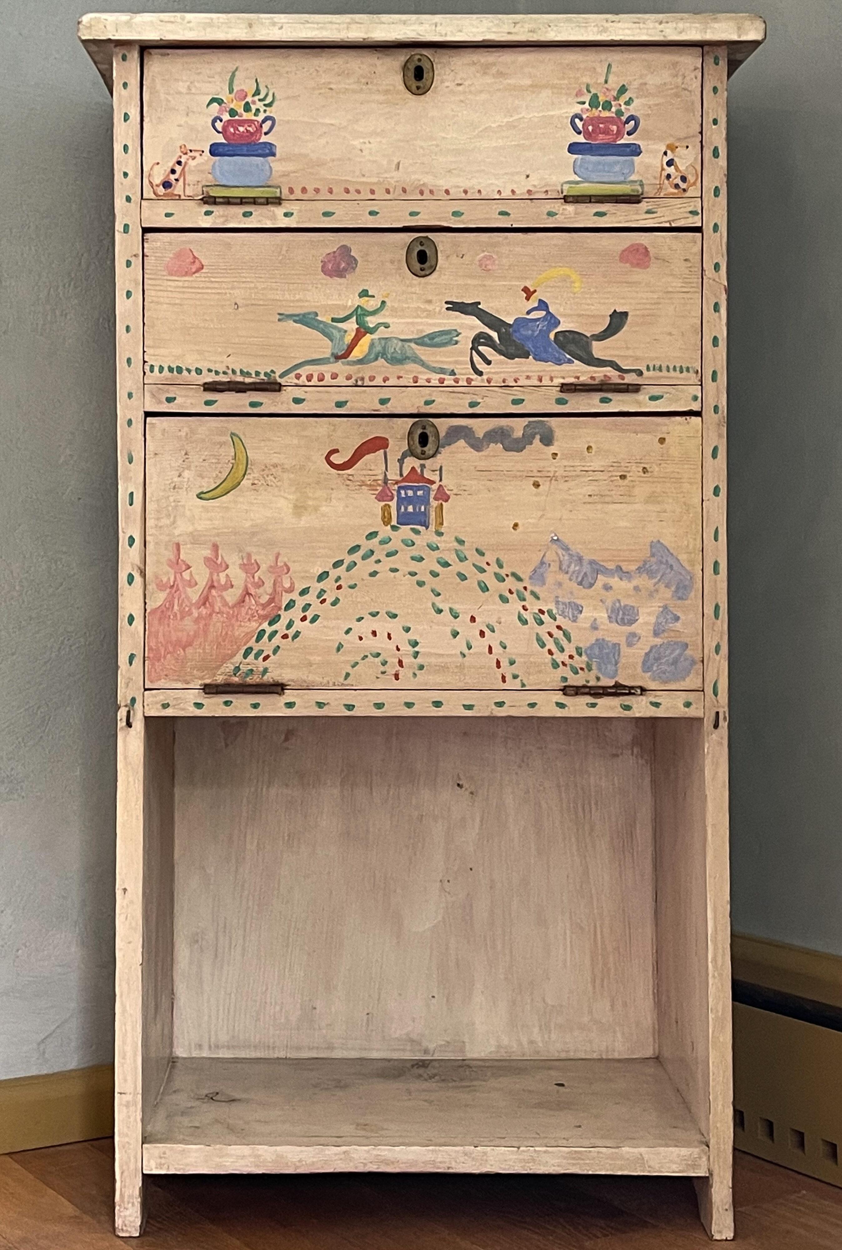 Toilettenschränkchen von Gabriele Münter, bemalt von Kandinsky
